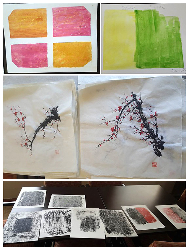Watercolors, Chinese Sumi Ink paintings, and Monoprints!