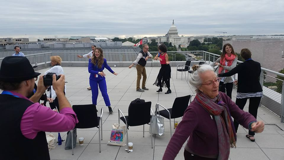 Early morning dance class on the roof of the Newseum with Kairos Alive, Maria Genné and Parker Genne, looking out on the Capitol and the National Mall