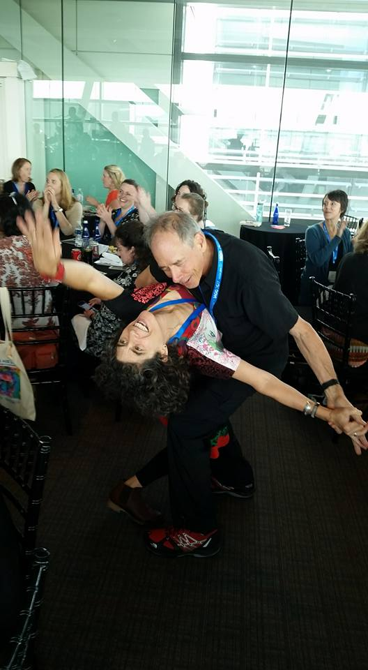 Pure joy, two beautiful friends who are pioneers in creative aging showing how it's done at Creative Aging Summit: Maria Genne and Stuart Kandell